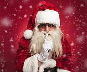 santa claus making the quiet gesture