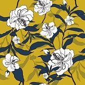 Outline blooming flower vector illustration.