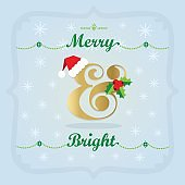 Golden and colorful Christmas Holiday Merry and Bright decoration icons on blue gradient background