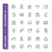 Line icons set. Education 2