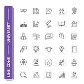 Line icons set. University