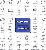 Line icons set. Restaurant