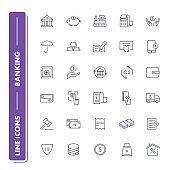 Line icons set. Banking