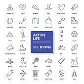 Line icons set. Active life