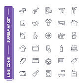 Line icons set. Supermarket