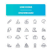 Line sport icons set. Snowboard