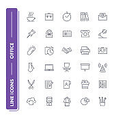 Line icons set. Office.