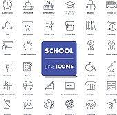 Line icons set. School