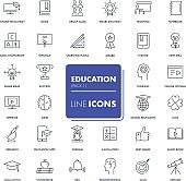 Line icons set. Education