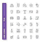 Line icons set. Pub