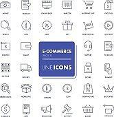 Line icons set. E-commerce