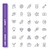 Line icons set. Party