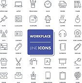 Line icons set. Workplace