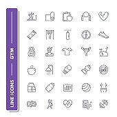 Line icons set. Gym