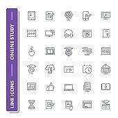 Line icons set. Online education