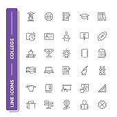 Line icons set. College