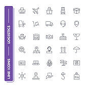 Line icons set. Logistics