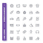 Line icons set. Entertainment