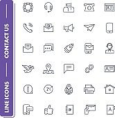 Line icons set. Contact Us