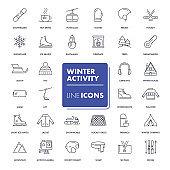 Line icons set. Winter activity