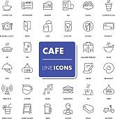 Line icons set Cafe
