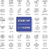 Line icons set. Start Up