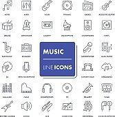 Line icons set. Music