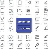 Line icons set. Stationery