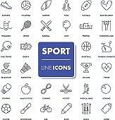 Line icons set. Sport