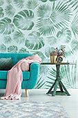 Leaves wallpaper in living room
