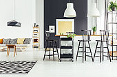 Open space with bar stools