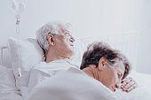 Dying elderly man at hospital