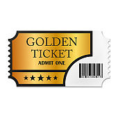 Designed retro Golden Ticket close up top view isolated on white background. Vector illustration.