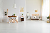Big, white loft space