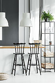 Dining room with bar stools