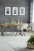 Classic dining room with posters