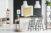 Room with bar stools