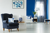 Comfortable navy armchair