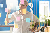 Corporate woman placing sticky notes