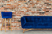 Blue chair and sofa