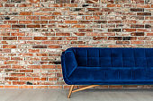 Blue sofa in the loft