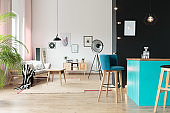 Open space with blue minibar