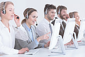 Group of contact center  workers