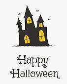 Happy Halloween Card Design, Vampire Castle Cartoon Vector