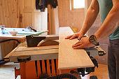 Worker using professional circular saw