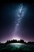 Shooting star and milky way
