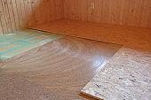 Laying of new parquet flooring in progress