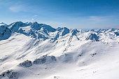 Winter snow covered mountain peaks Austrian alps
