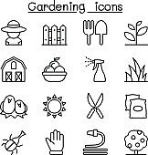 Gardening icon set in thin line style