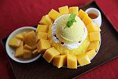 Shaved Ice dessert with Fresh Mango